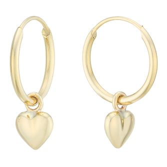 9ct Yellow Gold Heart Charm Hoop Earrings - Product number 4054458