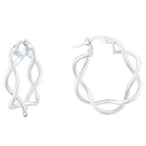 9ct White Gold Entwined Wavy Hoop Earrings - Product number 4054520