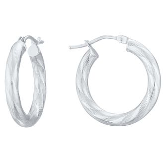 9ct White Gold Twisted Etched Design Hoop Earrings - Product number 4054563