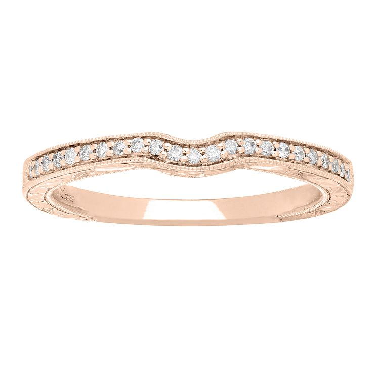 Neil Lane 14ct rose gold 10pt diamond shaped milgrain band - Product number 4055802