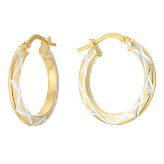 Silver & 9ct Yellow Gold Bonded Two Tone Creole Earrings - Product number 4056337