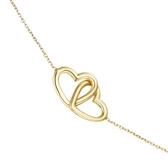 9ct Yellow Gold Entwined Hearts Choker - Product number 4057279