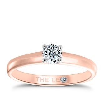 Leo Diamond 18ct rose gold 1/4ct I-I1 solitaire ring - Product number 4058399