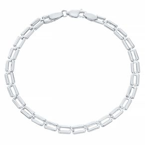 9ct White Gold Square Links Bracelet - Product number 4058860