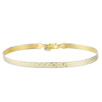 Silver & 9ct Gold Bonded Two Tone Snake Chain Bracelet - Product number 4059174