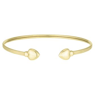 9ct Yellow Gold Textured Heart Torque Bangle - Product number 4059328