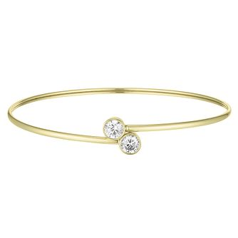 9ct Yellow Gold Cubic Zirconia Rubover Flexi Bangle - Product number 4059336