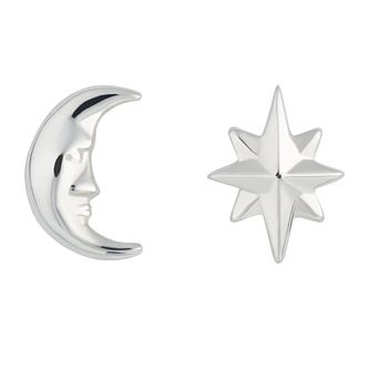 Lily Charmed Silver Moon & Star Mismatched Stud Earrings - Product number 4059980