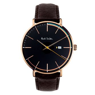 Paul Smith Track Men's Rose Gold Plated Black Strap Watch - Product number 4060024