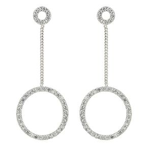 Mikey Silver Tone Cubic Zirconia Circle Drop Earrings - Product number 4060393