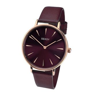 Seksy Ladies' Burgundy Leather Strap Watch - Product number 4064704
