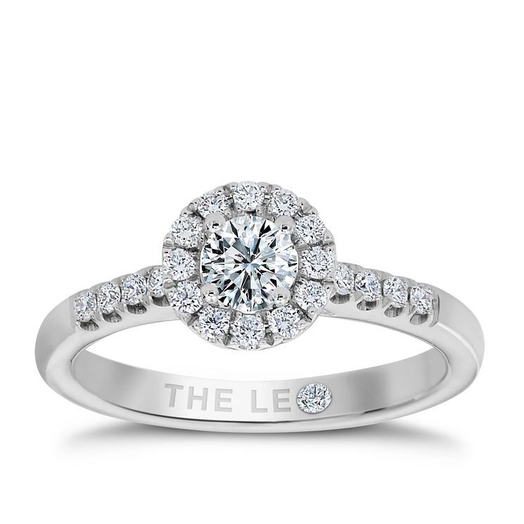 Leo Diamond Platinum 0.50ct I-P1 Round Halo Cluster Ring - Product number 4065808