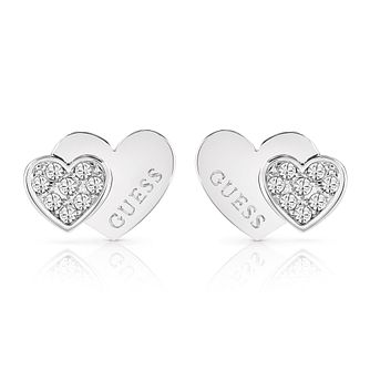 Guess Silver Plated Rhodium Double Heart Stud Earrings - Product number 4066642