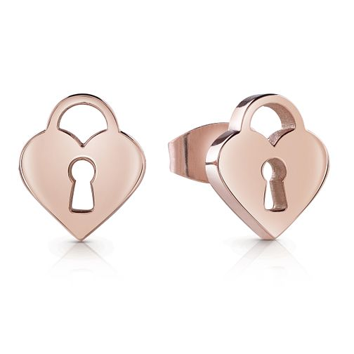 Guess Rose Gold Plated Rhodium Heart Padlock Stud Earrings - Product number 4066677
