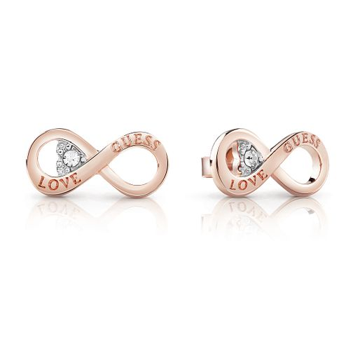 Guess Rose Gold Plated Rhodium Infinity Heart Stud Earrings - Product number 4066863