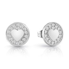 Guess Silver Plated Rhodium Heart Coin Stud Earrings - Product number 4066871