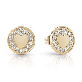 Guess Gold Plated Rhodium Heart Coin Stud Earrings - Product number 4066898