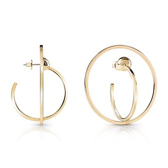 Guess Gold Plated Rhodium Double Circle Hoop Earrings - Product number 4067304
