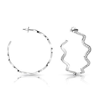 Guess Silver Plated Rhodium Wave Hoop Earrings - Product number 4067312