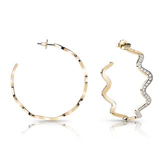 Guess Gold Plated Rhodium Wave Hoop Earrings - Product number 4067320