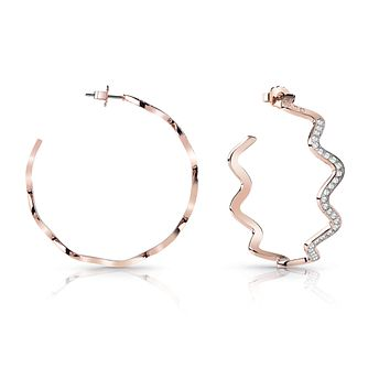 Guess Rose Gold Plated Rhodium Wave Hoop Earrings - Product number 4067339