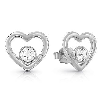 Guess Silver Plated Rhodium Heart Crystal Stud Earrings - Product number 4067363