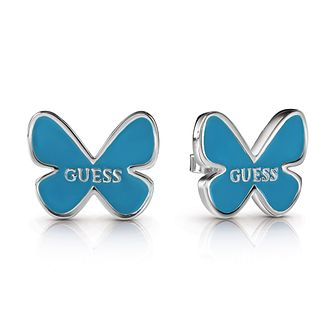 Guess Silver Plated Rhodium Blue Butterfly Stud Earrings - Product number 4067401