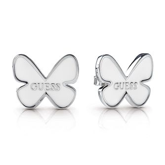 Guess Silver Plated Rhodium White Butterfly Stud Earrings - Product number 4067452