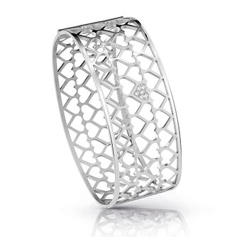 Guess Silver Plated Rhodium Heart Pattern Bangle - Product number 4067517