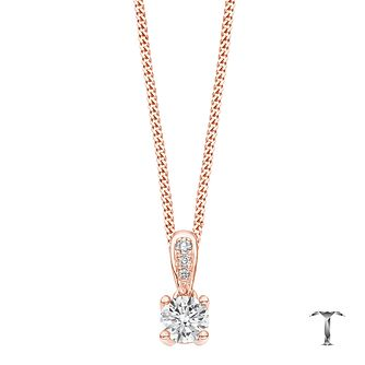 Tolkowsky 18ct Rose gold 0.35ct diamond drop pendant - Product number 4067797