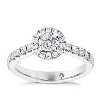 Leo Diamond Platinum I-P1 0.75ct Round Halo Cluster Ring - Product number 4071522