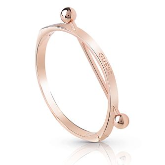 Guess Rose Gold Plated Rhodium Bar Logo Bangle - Product number 4075293