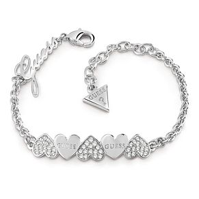 Guess Silver Plated Rhodium Plain Heart Row Bracelet - Product number 4075315