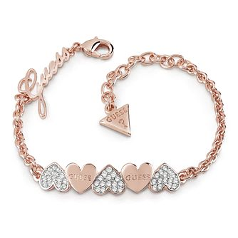 Guess Rose Gold Plated Rhodium Plain Heart Row Bracelet - Product number 4075323