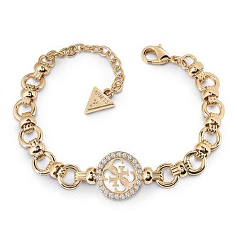 Guess Gold Plated Rhodium Logo Big Chain Bracelet - Product number 4075420