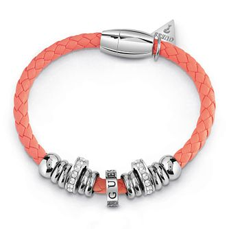 Guess Silver Plated Rhodium & Coral Rope Bracelet - Product number 4075560