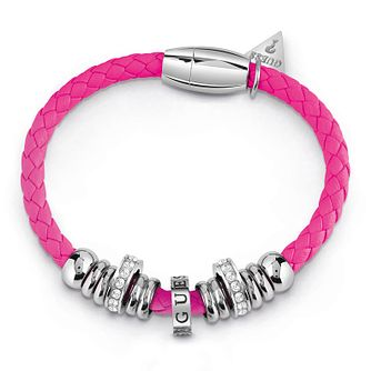 Guess Silver Plated Rhodium & Pink Rope Bracelet - Product number 4075587