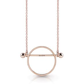 Guess Rose Gold Plated Rhodium Circle & Bar Necklace - Product number 4076249