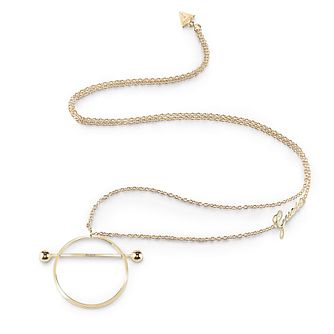 Guess Gold Plated Rhodium Circle & Bar Long Necklace - Product number 4076265