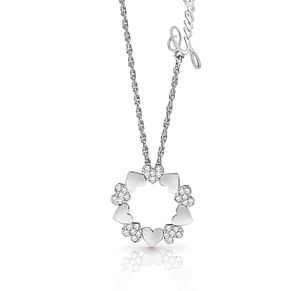 Guess Silver Plated Rhodium Small Heart Circle Necklace - Product number 4076303