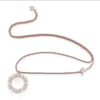 Guess Rose Gold Plated Rhodium Big Heart Circle Necklace - Product number 4076311
