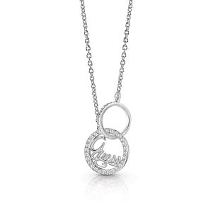 Guess Silver Plated Rhodium Interlock Ring Necklace - Product number 4076427
