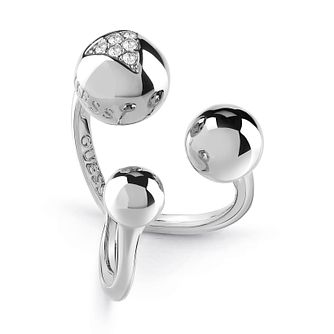 Guess Silver Plated Rhodium Three Bead Open Ring - Product number 4076494
