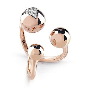 Guess Rose Gold Plated Rhodium Three Bead Open Ring - Product number 4076508