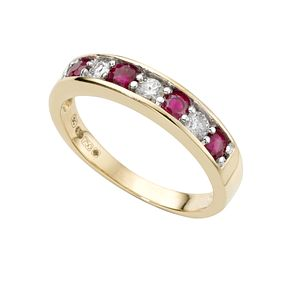 18ct gold ruby and fifth carat diamond half-eternity ring - Product number 4077857