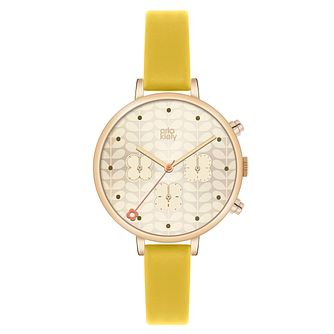 Orla Kiely Ladies' Cream Dial Yellow Leather Strap Watch - Product number 4078659