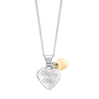 9ct Yellow Gold & Sterling Silver Diamond Marry Me Locket - Product number 4078780
