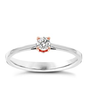 Platinum & Rose Gold Plated Solitaire Ring - Product number 4079051