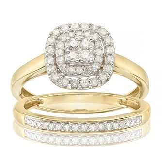 9ct Yellow Gold 1/3ct Diamond Perfect Fit Bridal Set - Product number 4080785