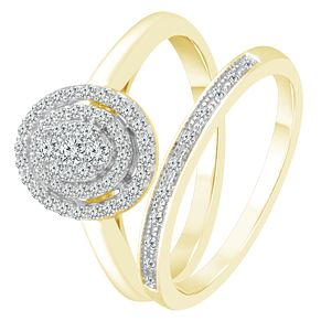 9ct Yellow Gold 1/3ct Diamond Perfect Fit Bridal Set - Product number 4081250
